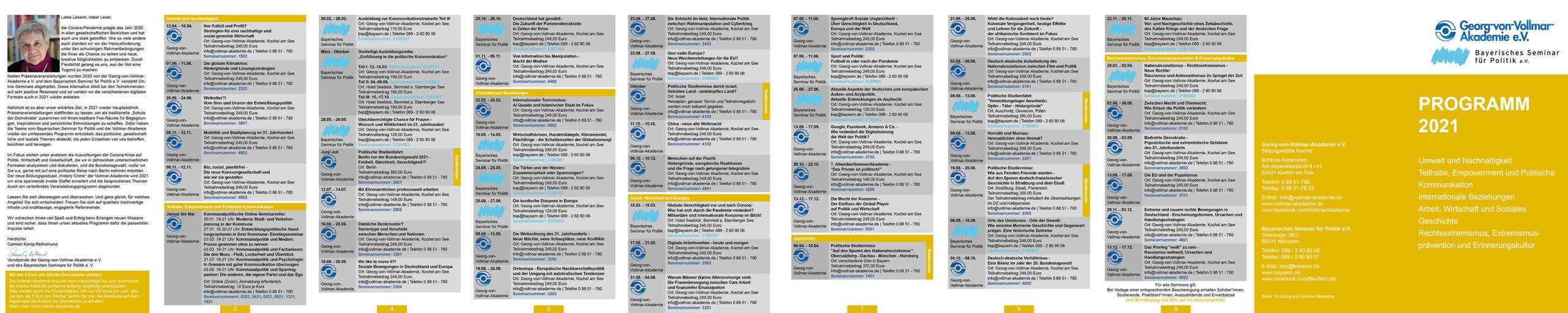 Vollmar-Akademie Jahresprogramm